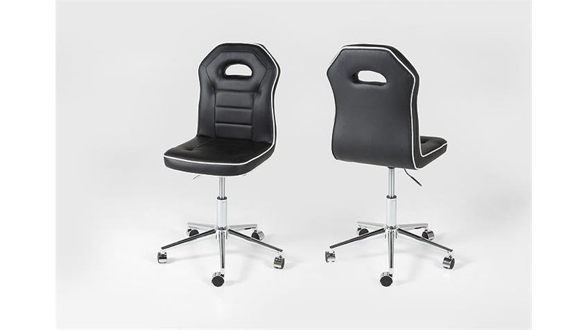 Bürostuhl PENGUIN Schreibtischstuhl in schwarz Keder weiß Chromfuß