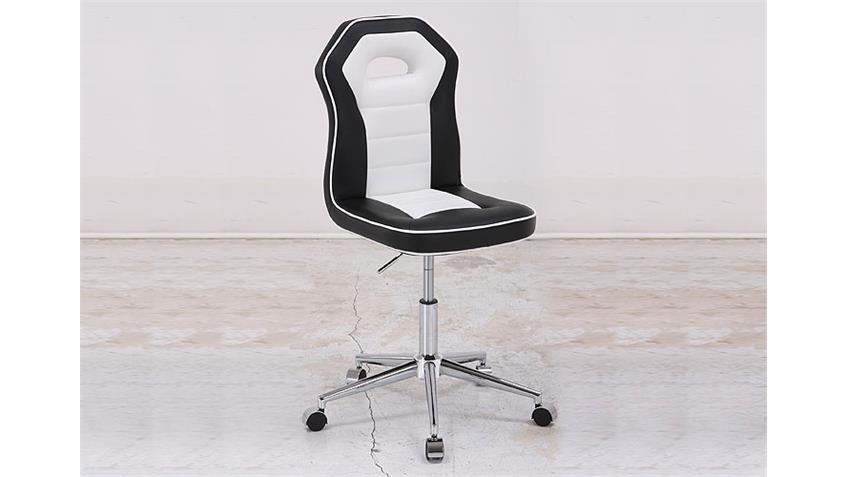 Bürostuhl PENGUIN Schreibtischstuhl in schwarz weiß Chrom