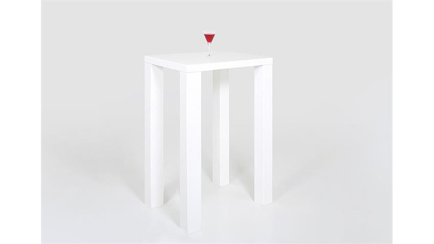 Bartisch SPICE Weiß Hochglanz Lack 80x80 cm