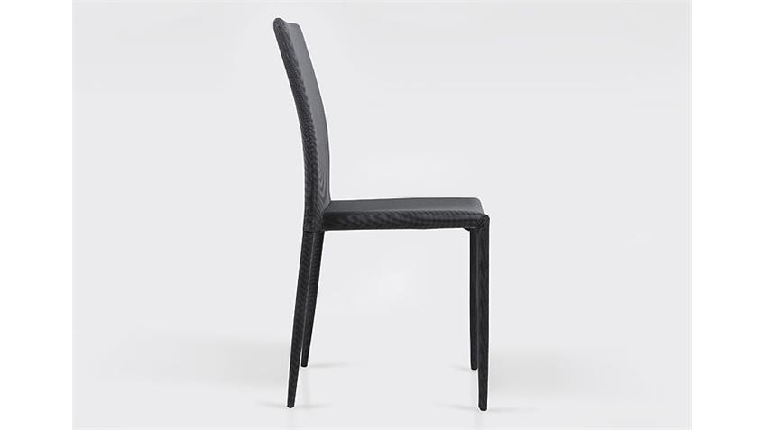 Stuhl PIANA Esszimmerstuhl in grau und schwarz 4er Set