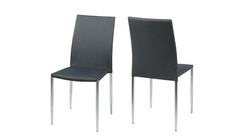 Stuhl TIANA Esszimmerstuhl grün schwarz und Chrom 4er Set