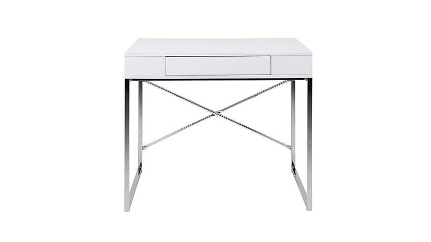 Schreibtisch VALLEZ Bürotisch in weiß Hochglanz