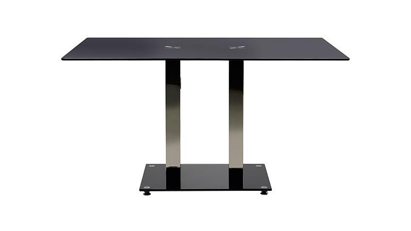 Esstisch ELKIN Schwarz Glas Stahl 140 cm