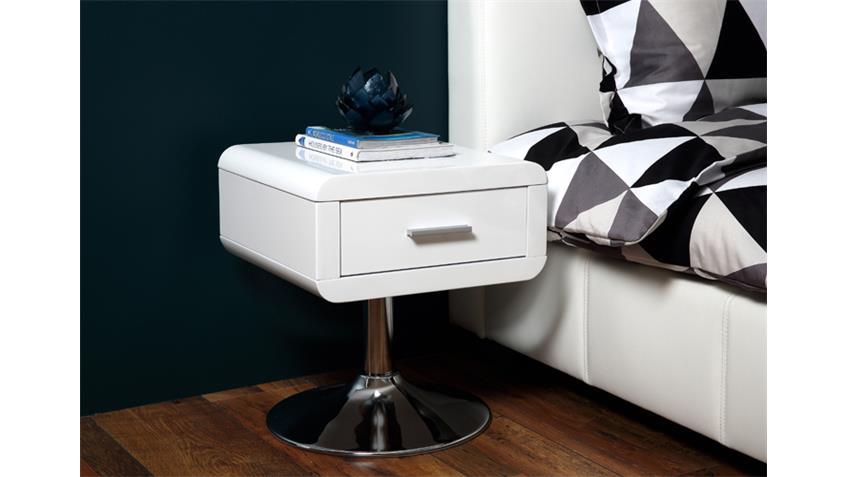 Nachttisch COMFORT Schlafzimmer in weiß hochglanz Lack