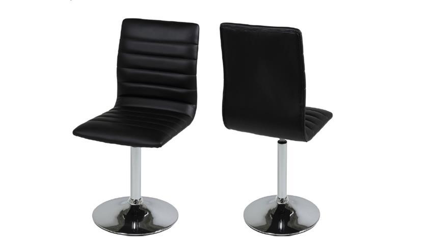 Stuhl PIPER 2er Set in schwarz mit Trompetenfuß