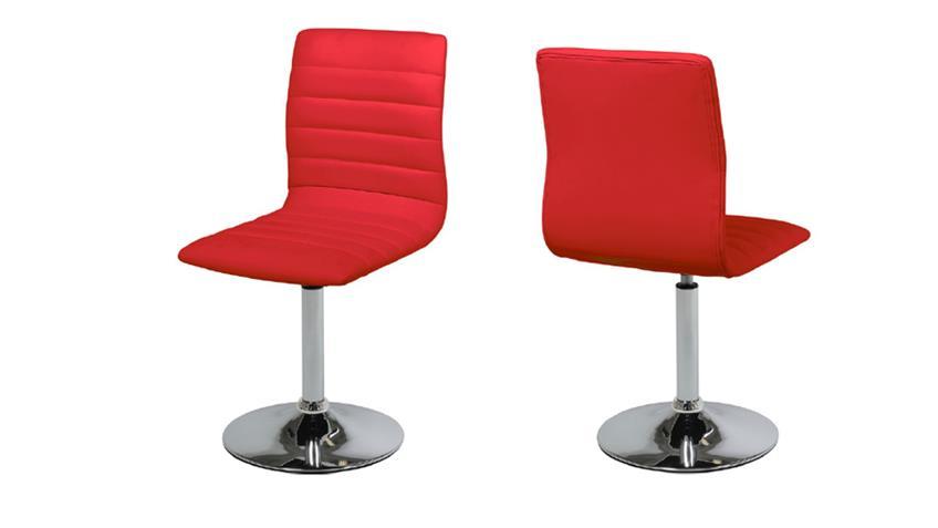 Stuhl PIPER 2er Set in rot mit Trompetenfuß