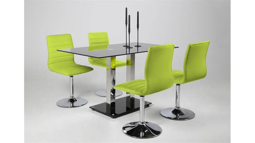 Stuhl PIPER 2er Set in grün lime mit Trompetenfuß