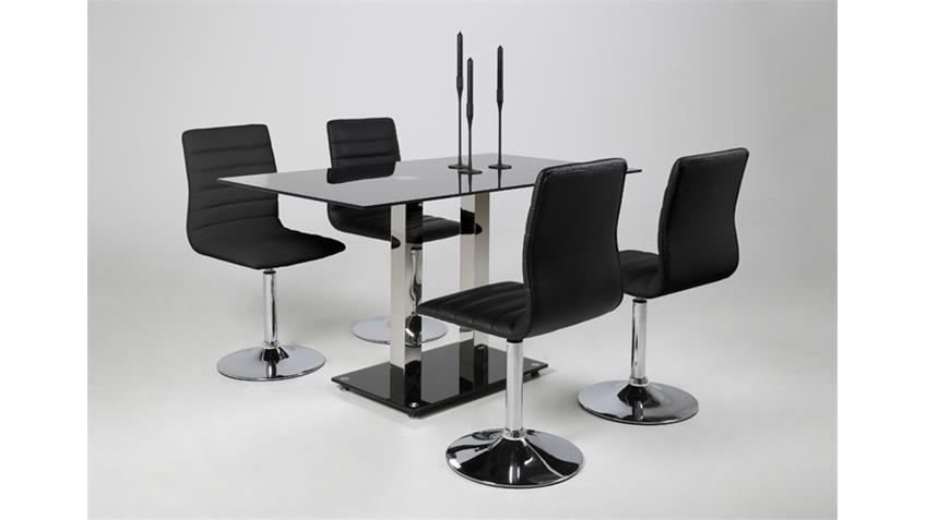 Tischgruppe ELKIN PIPER 4 Stühle schwarz Glastisch 140x80