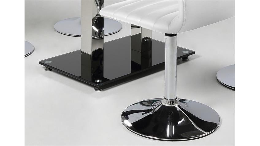 Tischgruppe ELKIN PIPER 4 Stühle weiß mit Glastisch 140x80