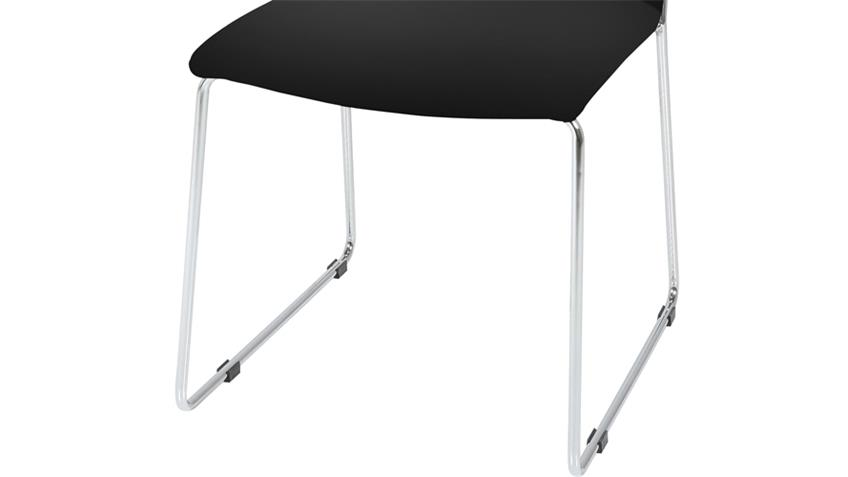 Stuhl KITOS 4er Set in Schwarz und Chrom