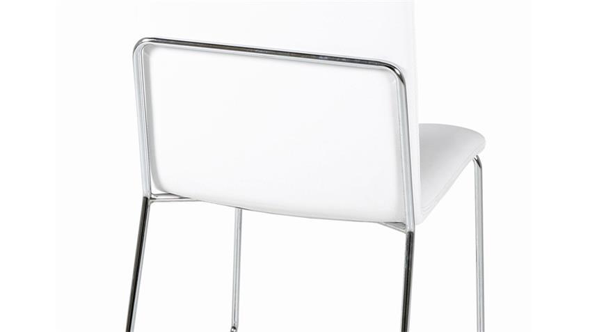 Stuhl KITOS Esszimmerstuhl 4er Set in weiß und Chrom
