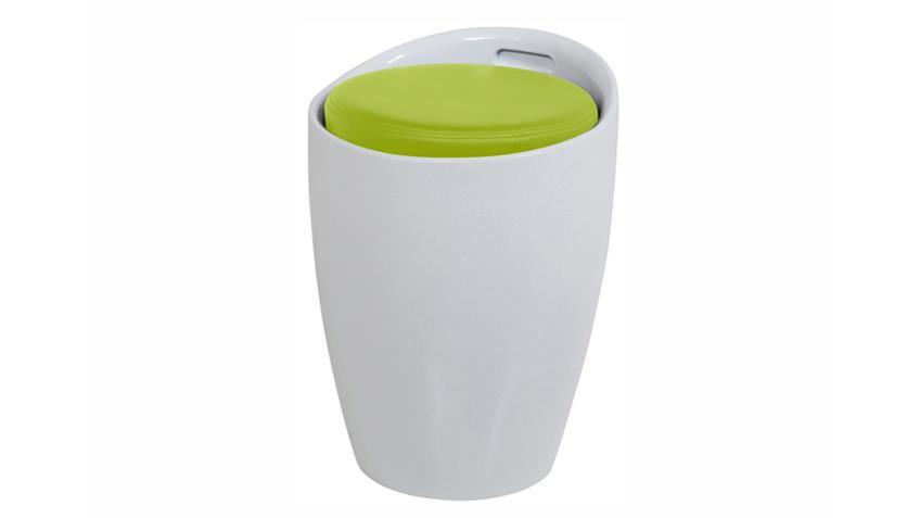 Hocker MINXIE Kunststoff Weiß Sitzpolster Lime Grün