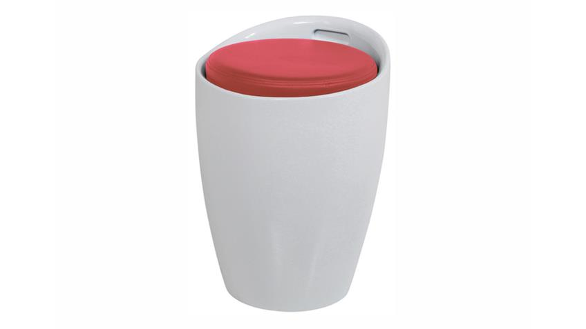 Hocker MINXIE Kunststoff Weiß Sitzpolster Rot