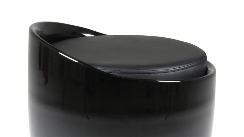 Hocker MINXIE Kunststoff schwarz mit Sitzpolster