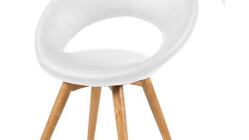 Stuhl PLUMP 2er Set Weiß Gestell Massivholz