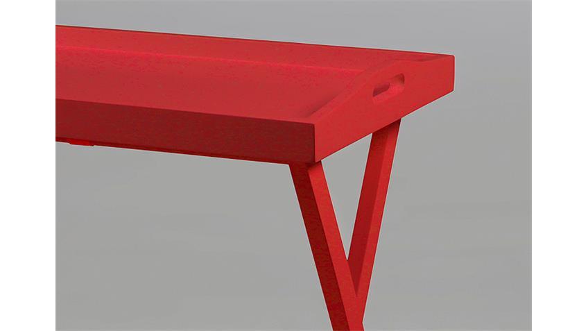 Beistelltisch VASSOIO Rot Lack und Kiefer massiv Rot