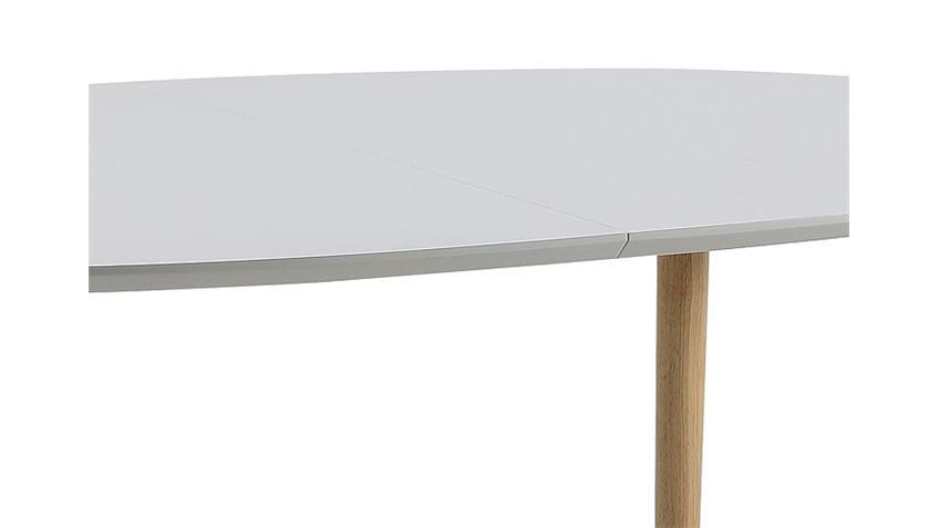 Esstisch BELINA Weiß Lack matt und massiv erweiterbar 170-270