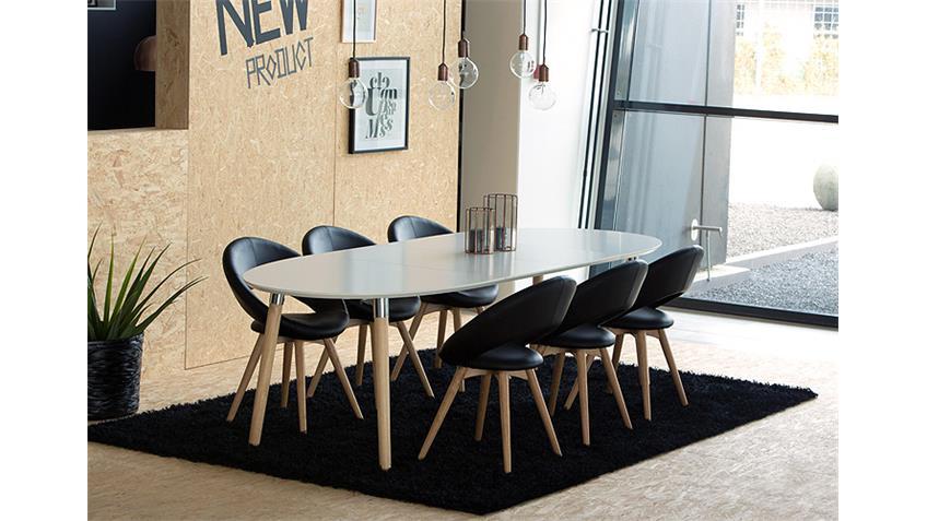 esstisch belina wei lack matt und massiv erweiterbar 170 270. Black Bedroom Furniture Sets. Home Design Ideas