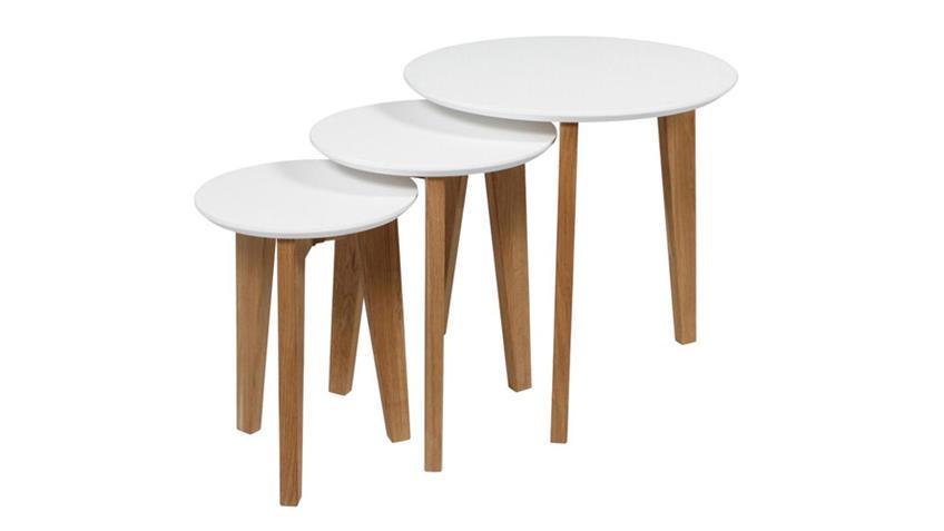 Couchtisch Set ABIN Tischplatte weiß lackiert Gestell Eiche