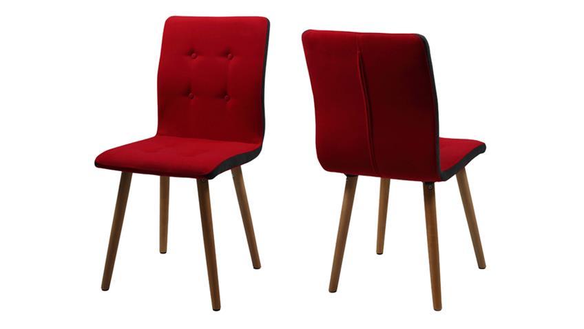 Stuhl Frida 2er Set Bezug Stoff rot Beine Eiche massiv geölt