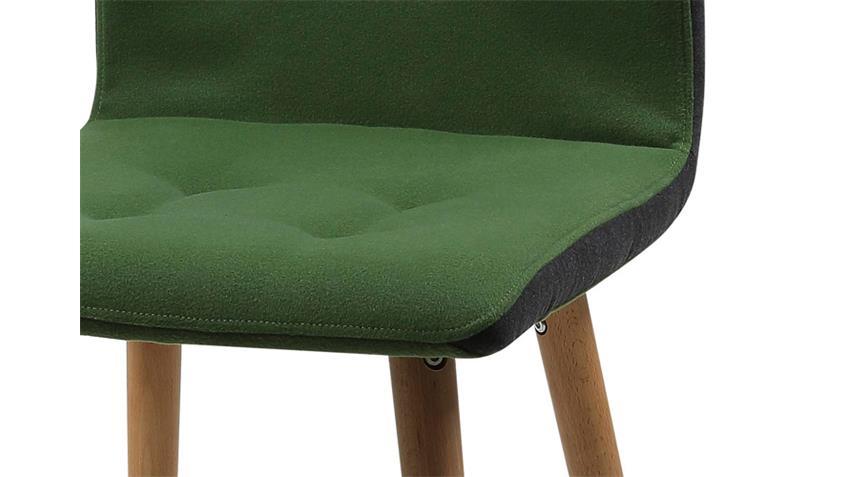 Stuhl Frida 2er Set Bezug Stoff grün Eiche massiv geölt