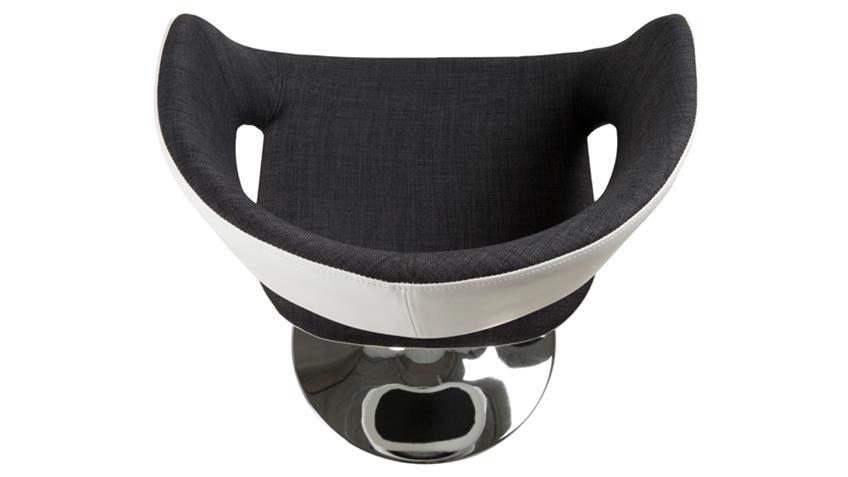 Stuhl GRACE Stoff Lederlook weiß anthrazit mit Trompetenfuß