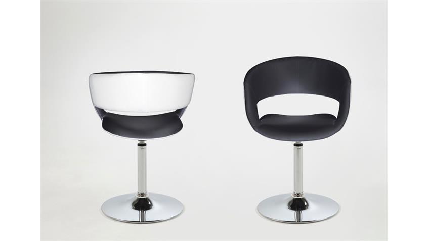 Stuhl GRACE Stoff Lederlook weiß schwarz mit Trompetenfuß