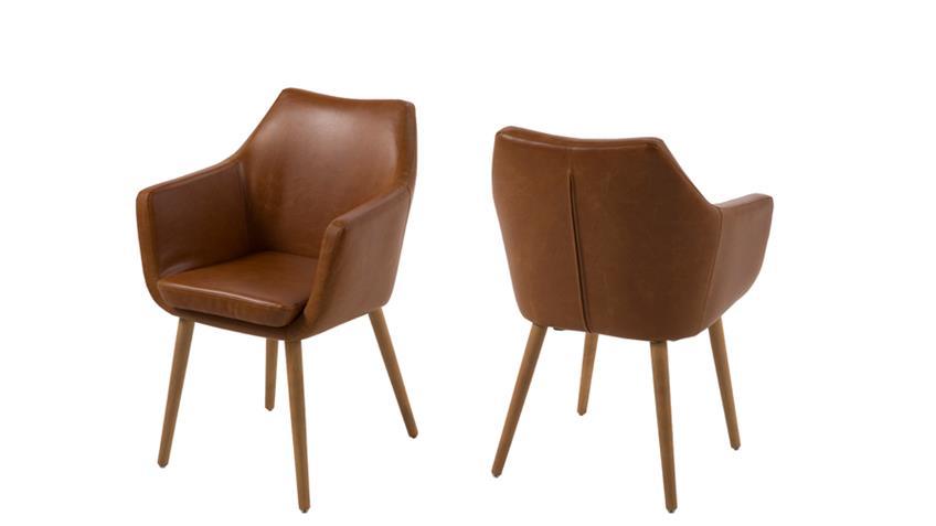 Stuhl nora armlehnstuhl sessel vintage braun cognac beine for Design stuhl nora