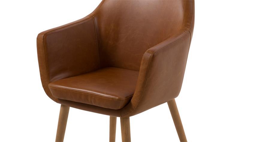 Stuhl NORA Armlehnstuhl Sessel Vintage braun cognac Beine Eiche