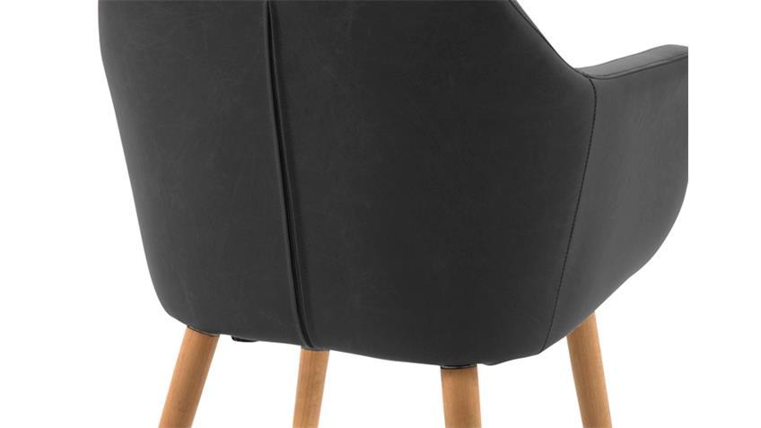 Stuhl NORA Armlehnstuhl Sessel in Vintage schwarz Gestell Eiche