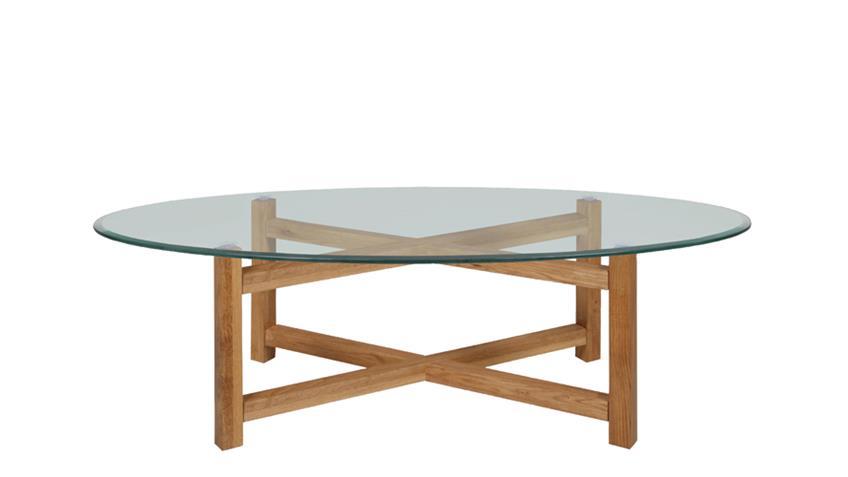 Couchtisch MELIA Holzgestell Eiche massiv Glasplatte oval