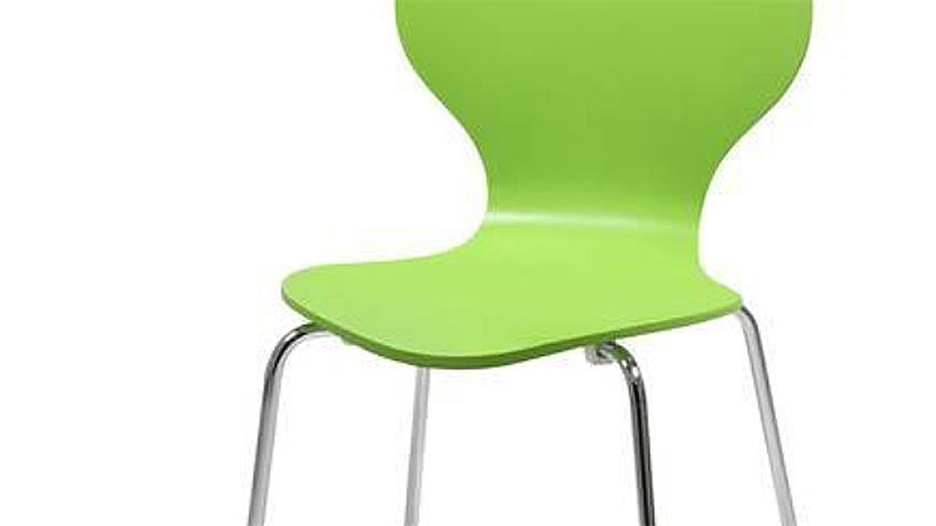 Stuhl MARCUS 4er Set Holzschale lime grün Gestell verchromt