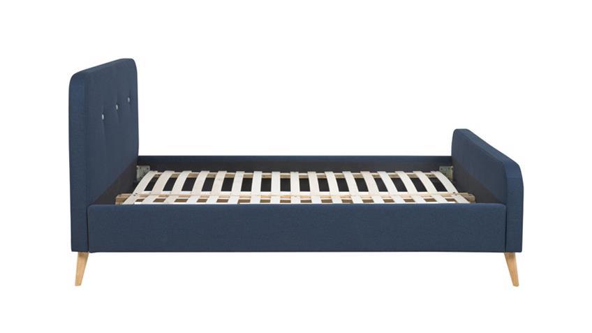 Bett AGNES Bettgestell Bezug Stoff dunkelblau 180x200 cm