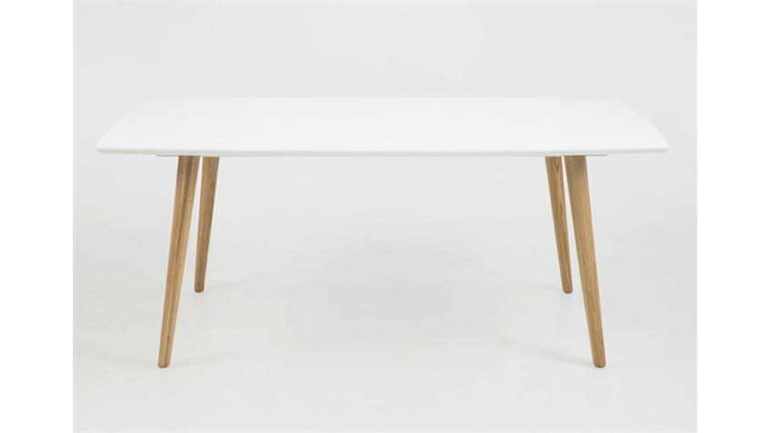 Esstisch ELISE Tisch weiß hochglanz Lack und Esche massiv