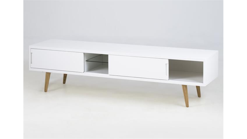 TV-Tisch ELISE Lowboard weiß hochglanz Lack mit Glasboden