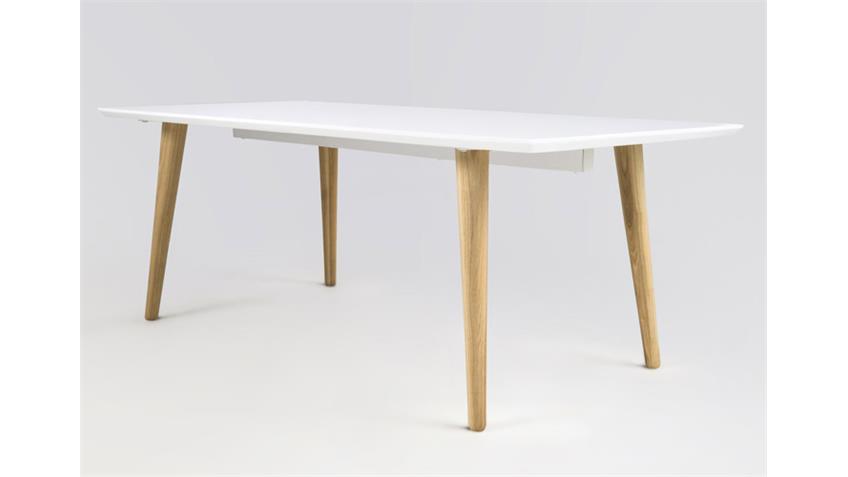 Couchtisch ELISE Tisch weiß hochglanz Lack und Esche