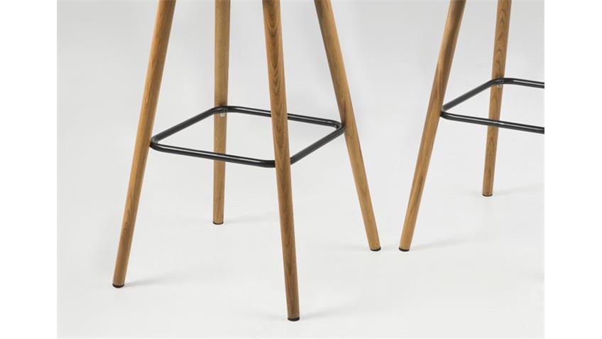 Barhocker FRIDA 2er Set Stuhl Stoff dunkelgrau Gestell Eiche