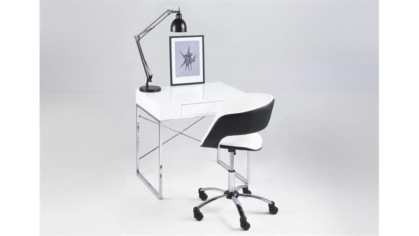 Bürostuhl GRACE weiß schwarz Lederlook auf Rollen
