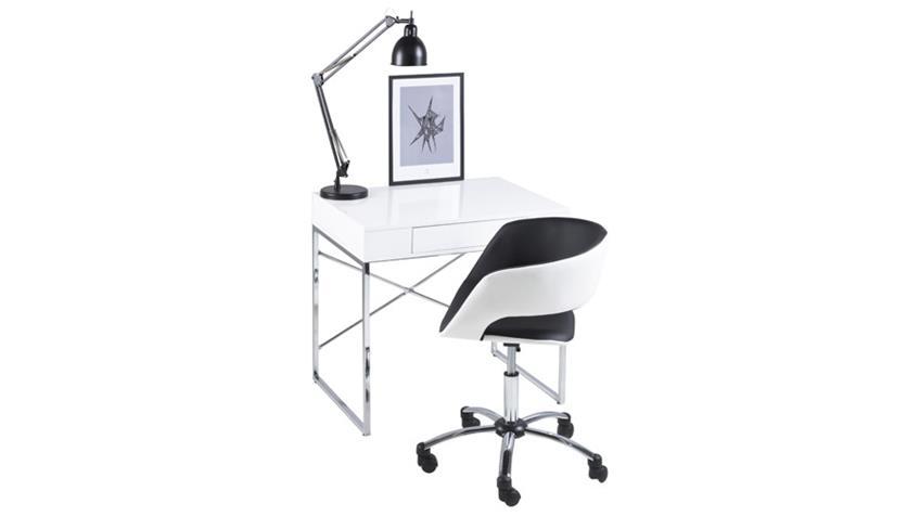 Bürostuhl GRACE schwarz weiß Lederlook auf Rollen