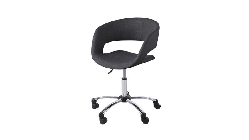 Bürostuhl GRACE anthrazit Stoff schwarz Lederlook auf Rollen