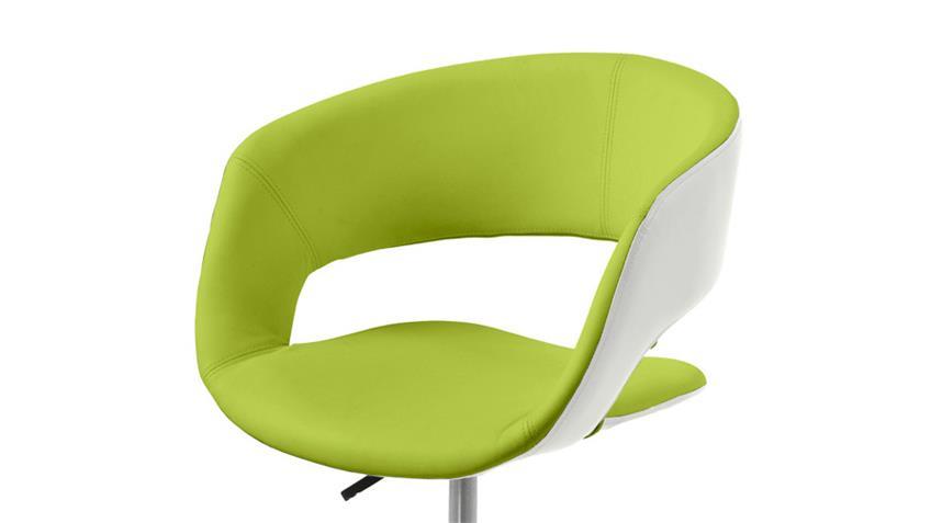 Bürostuhl GRACE lime grün und weiß Lederlook auf Rollen