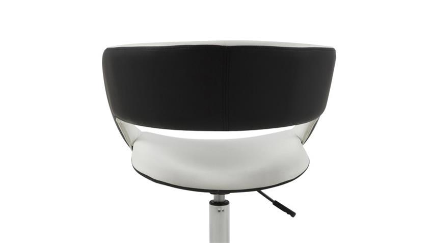 Stuhl GRACE Stoff weiß und schwarz Lederlook mit Trompetenfuß