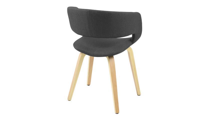 Stuhl GRACE Corsica Stoff dunkelgrau auf hellen Holzbeinen