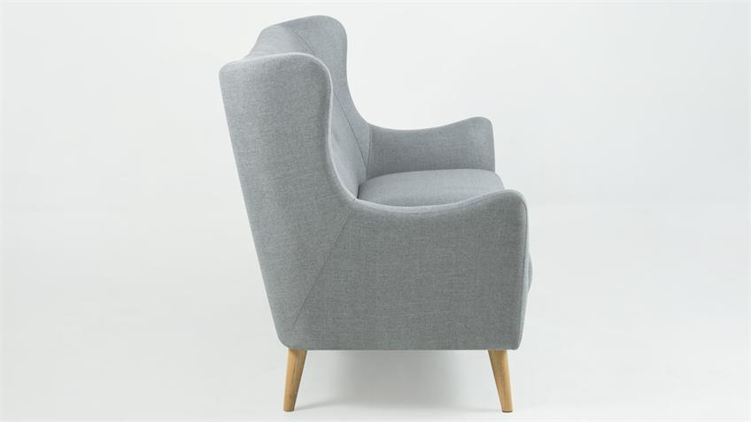 Sofa 3-Sitzer KAMMA Retro Couch Polstermöbel Stoff hellgrau