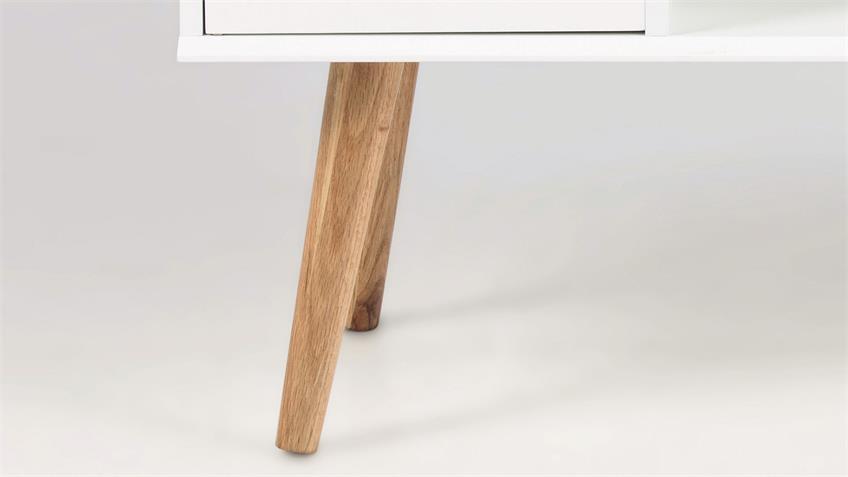 Anrichte MITRA Kommode Sideboard TV-Lowboard weiß Holzbeine