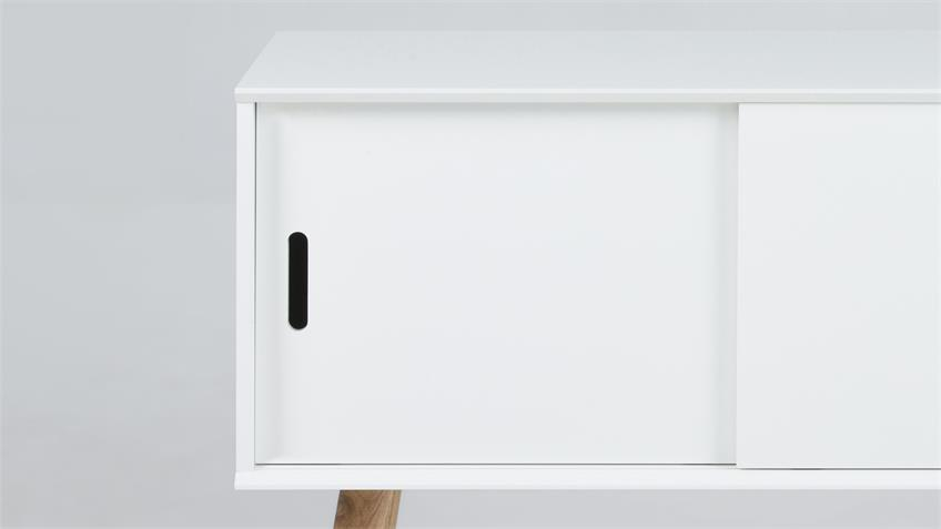 Kommode MITRA Anrichte Sideboard weiß mit Holzbeinen Eiche