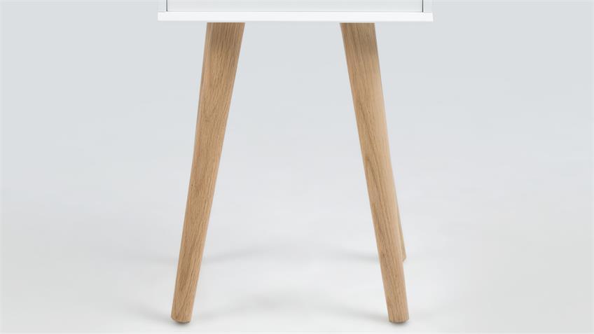 Nachttisch MITRA Konsole weiß mit Schubkasten Holzbeine Eiche
