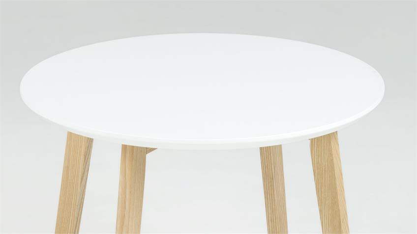 Ecktisch MOLINA Couchtisch rund weiß kratzfest Beine massiv