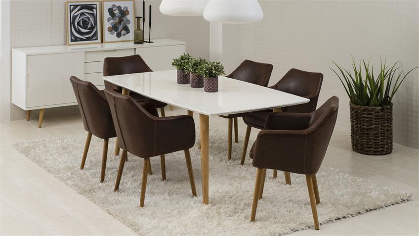 stuhl nora armlehnstuhl sessel in vintage lederlook braun eiche. Black Bedroom Furniture Sets. Home Design Ideas