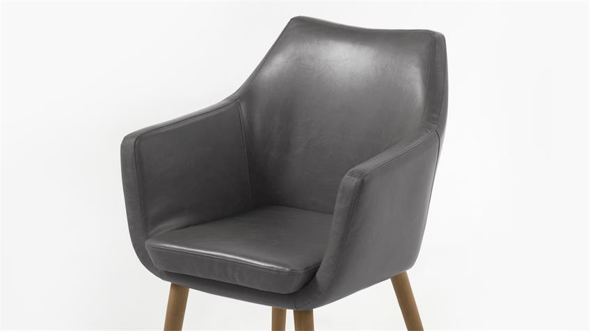 Stuhl NORA Armstuhl in Vintage Sessel Lederlook grau Eiche